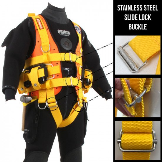 R-Vest with 4 stainless steel slide lock buckles making Northern Diver's R-Vest adjustable