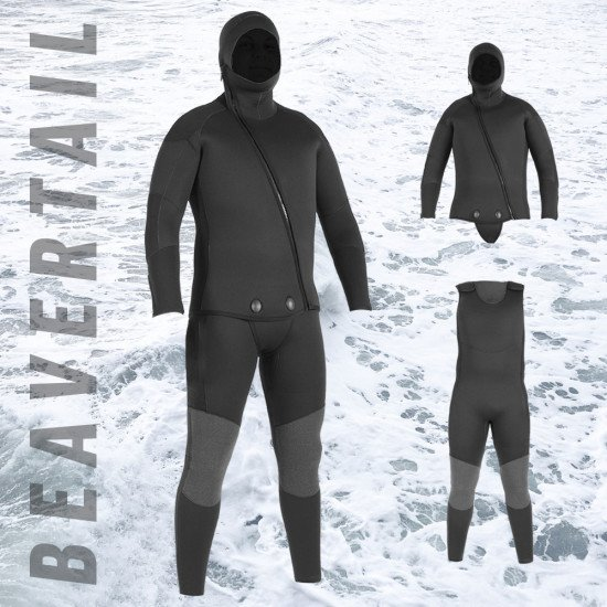 Northern Divers Beavertail Wetsuit System. Available in 5.0mm and 7.0mm neoprene.