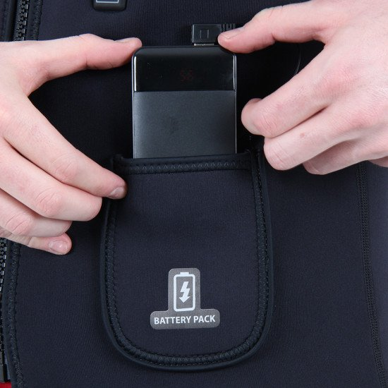 Specially designed battery pocket holds power pack in place