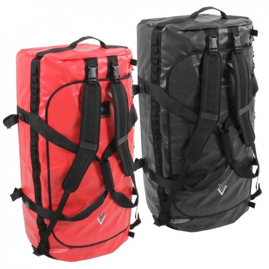 160L NDB5 Red & Black Holdalls, top view with strap options showing