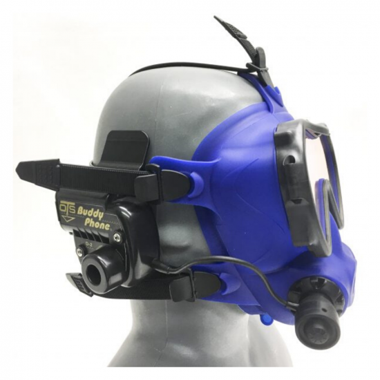 BuddyPhone mounted on a Spectrum Full Face Mask