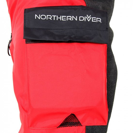 Survival Transit Suit - close-up of leg pockets with NDiver logo and mesh drainage hole
