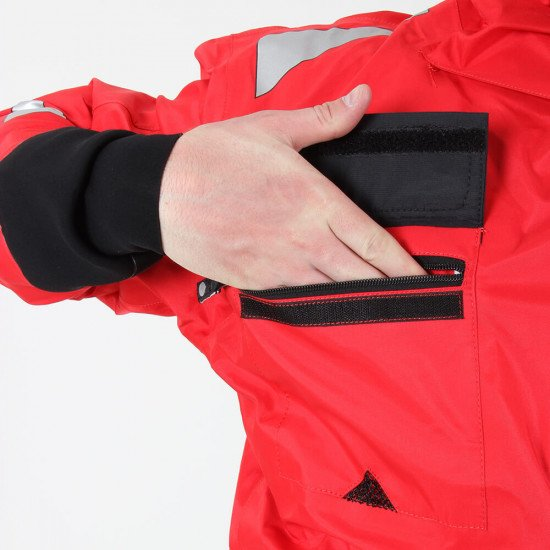 Survival Transit Suit - close-up of breast pocket, zip closure and protective zip cover