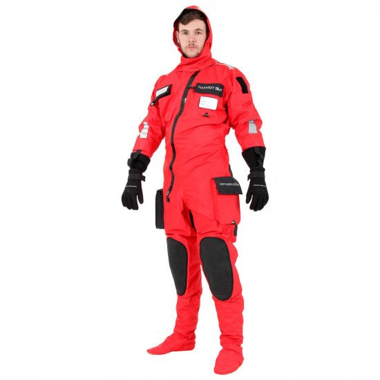 Survival Transit Suit - Full-length front view with included neoprene gloves