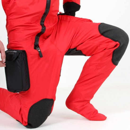 Survival Transit Suit - close-up of knee protection and suit's flexibility and give