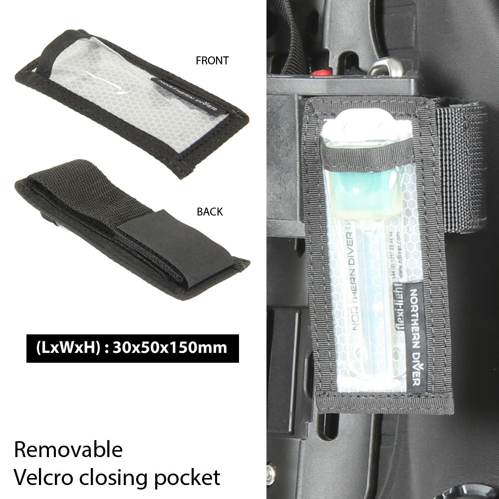 Flexi-Light Velcro fixing pocket for use with dive equipment