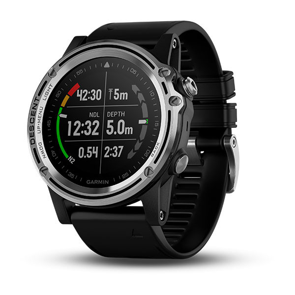 Garmin Descent™ Mk1 Silver Sapphire with Black Band front view, dive stats screen
