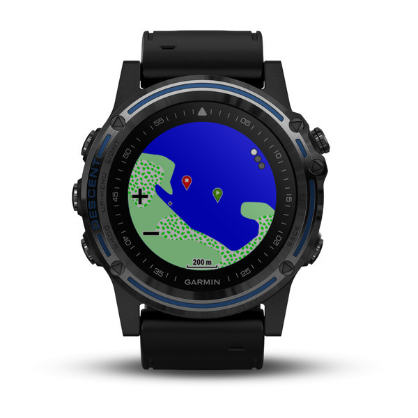 Garmin Descent™ Mk1 Grey Sapphire with Black Band front view, map face