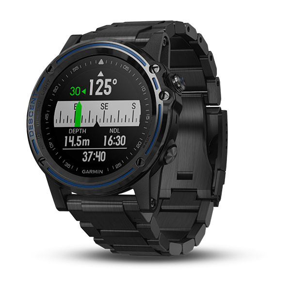 Garmin Descent™ Mk1 Grey Sapphire with DLC Titanium Band front view, co-ordinates face