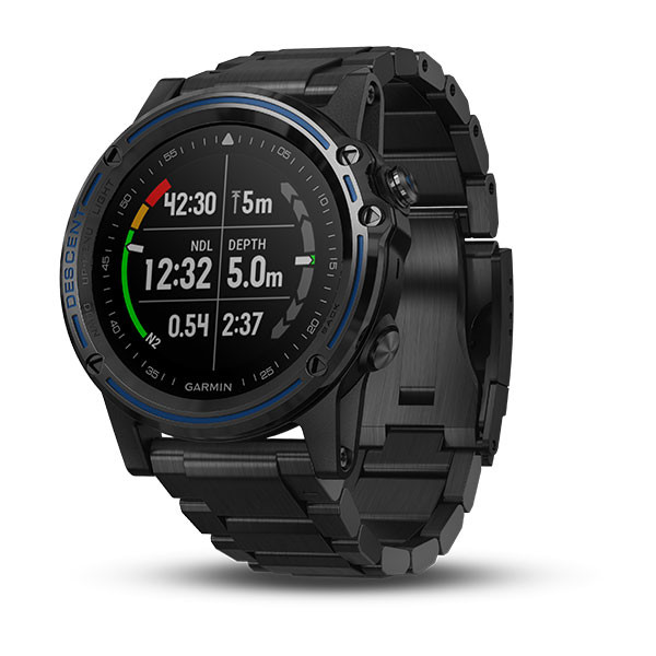 Garmin Descent™ Mk1 Grey Sapphire with DLC Titanium Band front view, dive face