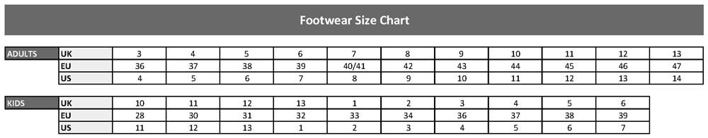Water rescue boots size chart